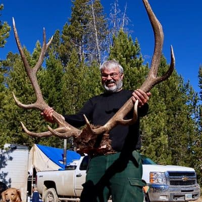 Zak's dad with trophy rack
