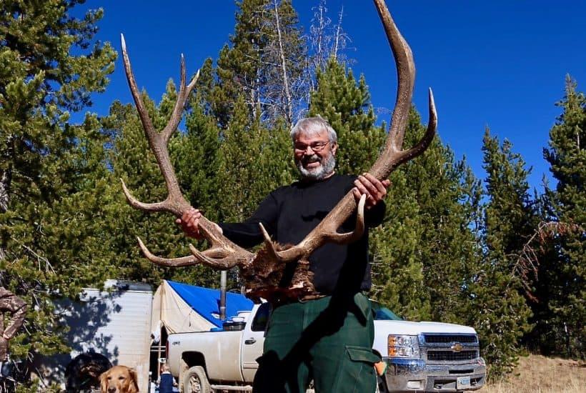 Zak's dad with trophy rack