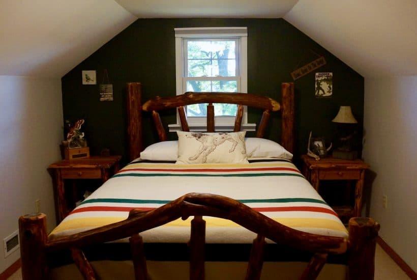 Rustic green bedroom