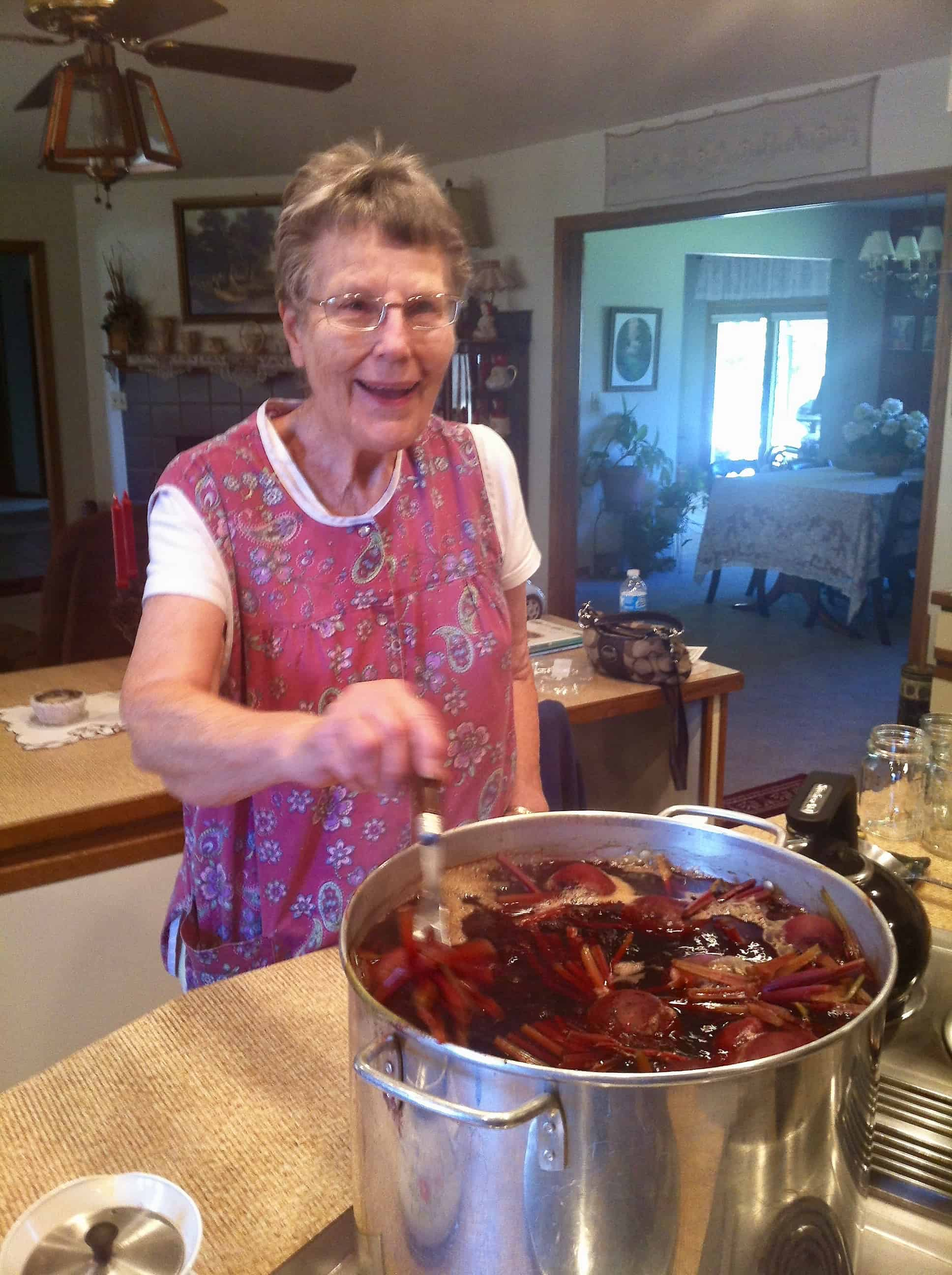 Mom stirring beets for canning