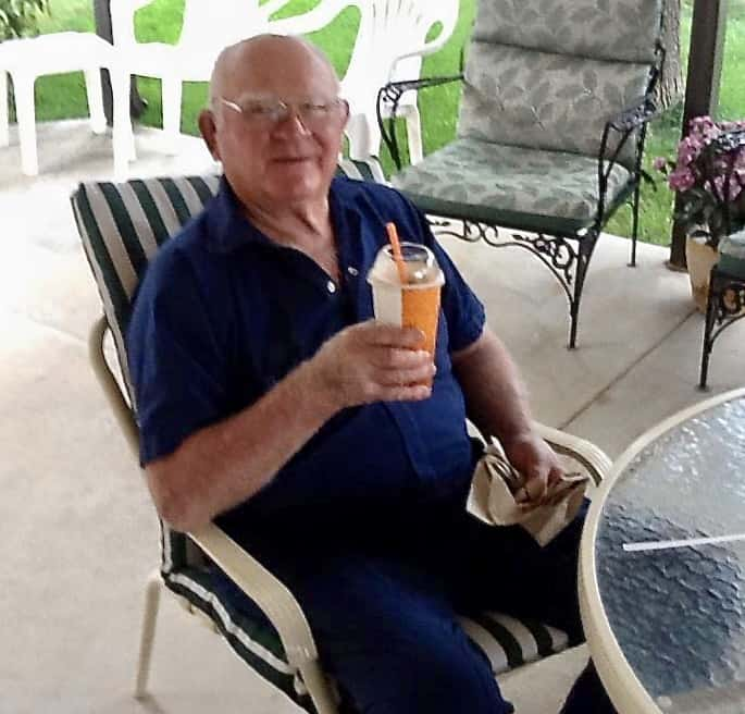 Dad enjoying a root beer float on the patio