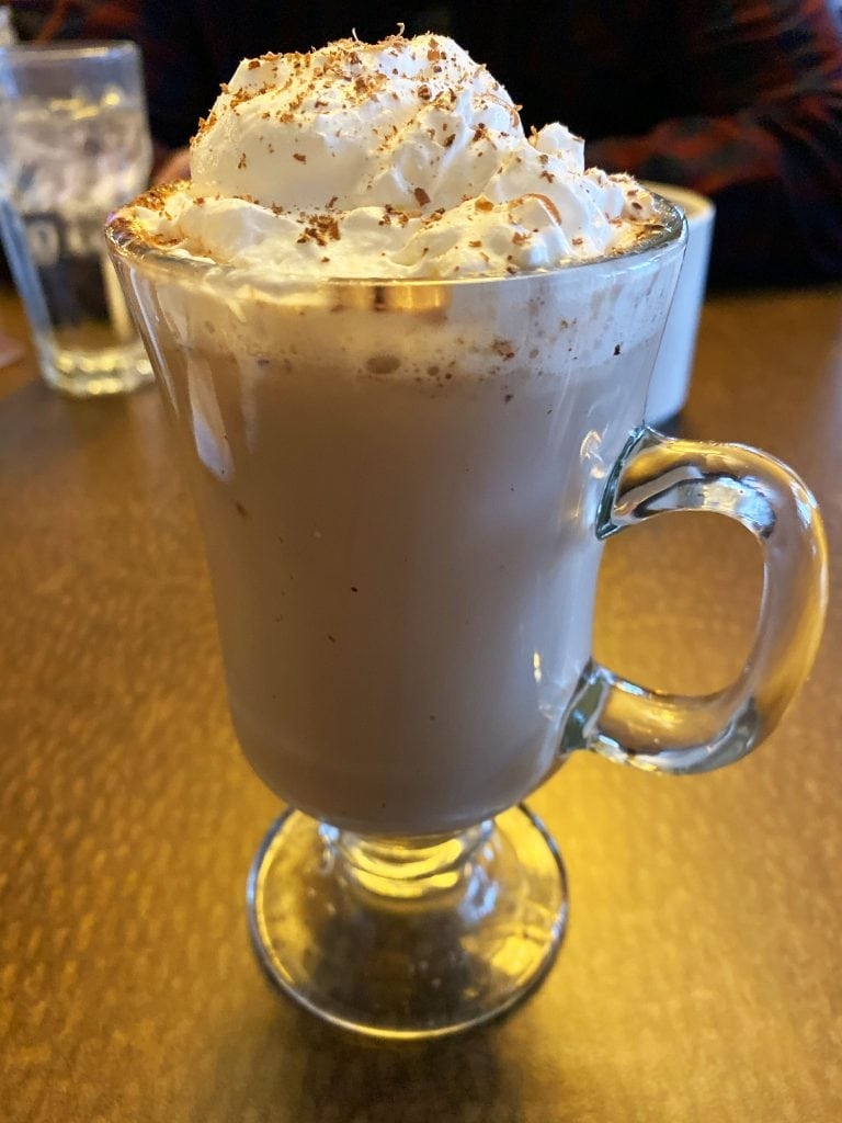 Winter in Yellowstone: mug of Belgian hot chocolate