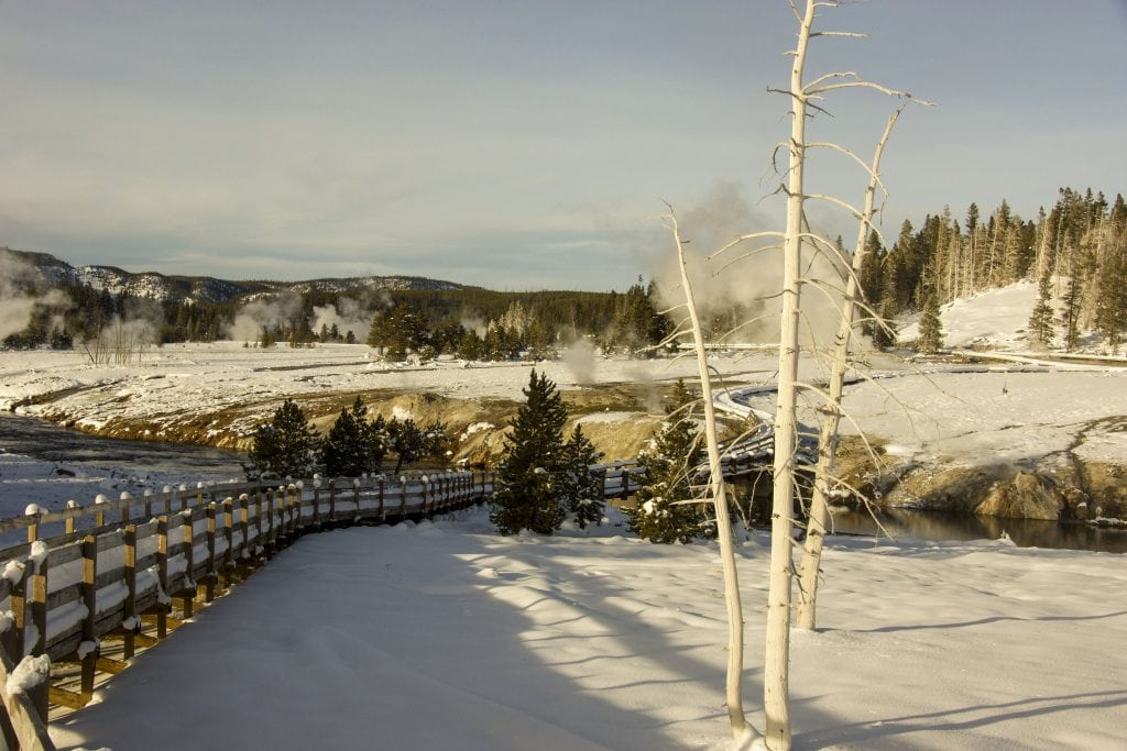 Winter in Yellowstone: boardwalk around the upper geyser basin