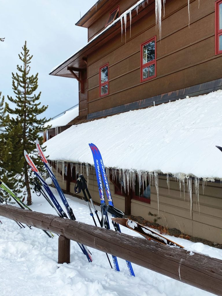 Winter in Yellowstone: Skis outside the snow lodge