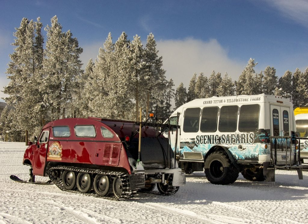 Winter in Yellowstone: vintage and modern snow coaches