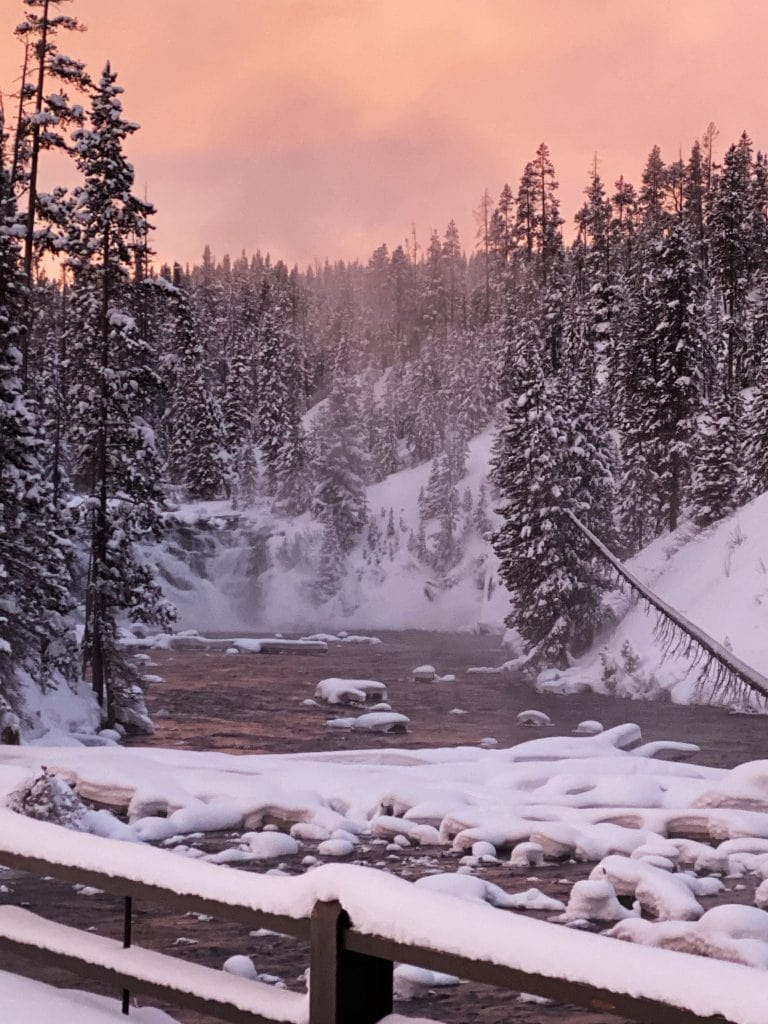 Winter in Yellowstone: waterfall at sunrise