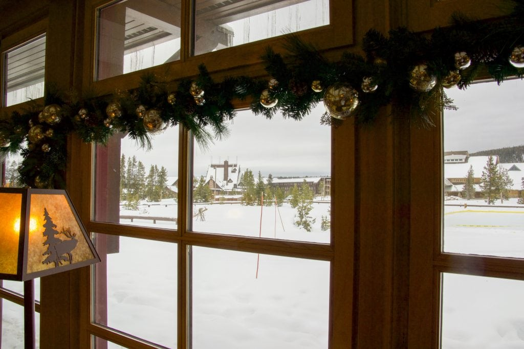 Winter in Yellowstone: view out the window of the Snow Lodge
