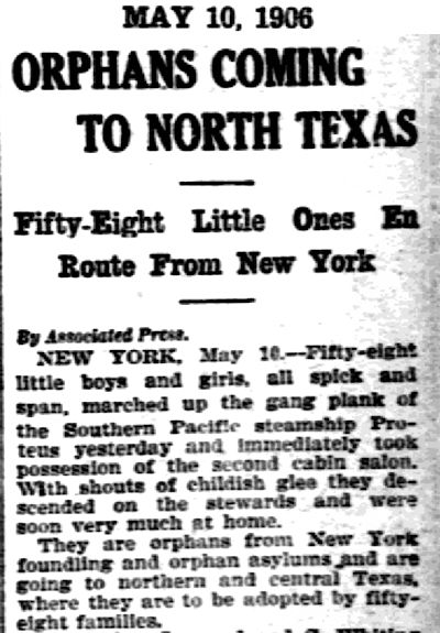 Orphan Train newspaper article